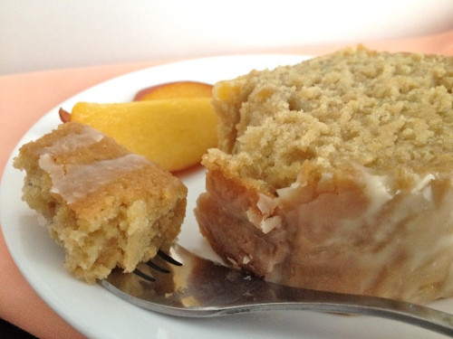 Peach Bourbon Bread with Vanilla Glaze