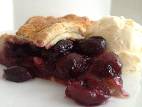 Cherry Almond Galette with Vanilla Ice Cream